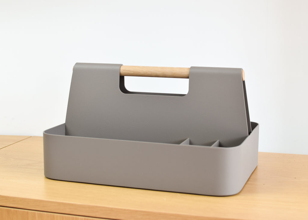 Most Modest's Elin Desk Caddy in stone from Commonplace design shop in Milwaukee, Wisconsin.