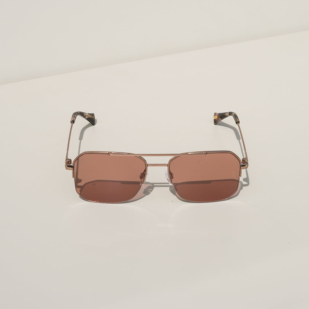 Munroe Sunglasses (Rose Gold + Plum Wine)