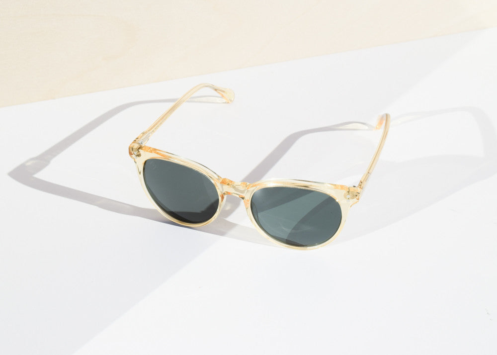 The Raen Norie cat-eye sunglasses in champagne crystal with Carl Zeiss lenses.