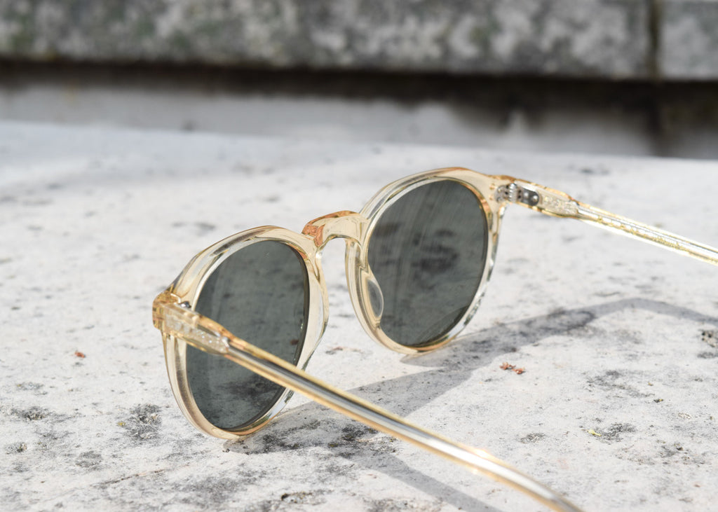 The Raen Remmy classic sunglasses in champagne crystal with polarized lenses from the back.