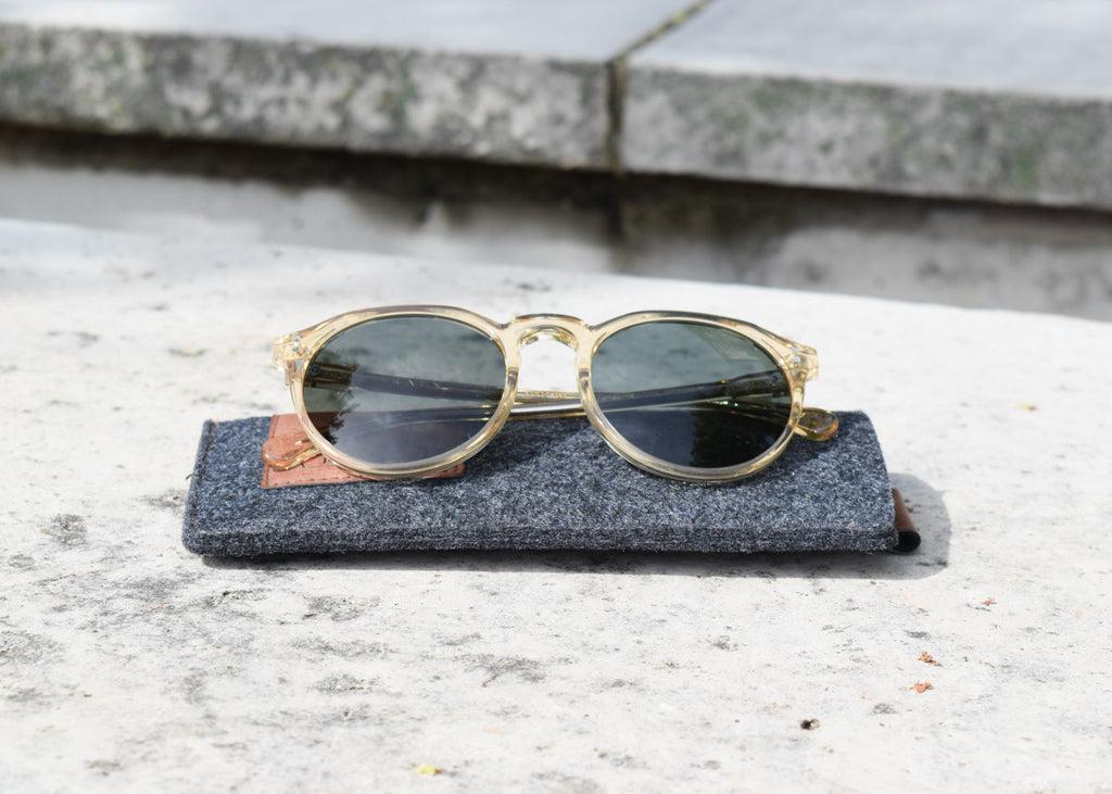 The Raen Remmy classic sunglasses in champagne crystal with polarized lenses with custom sunglasses case.