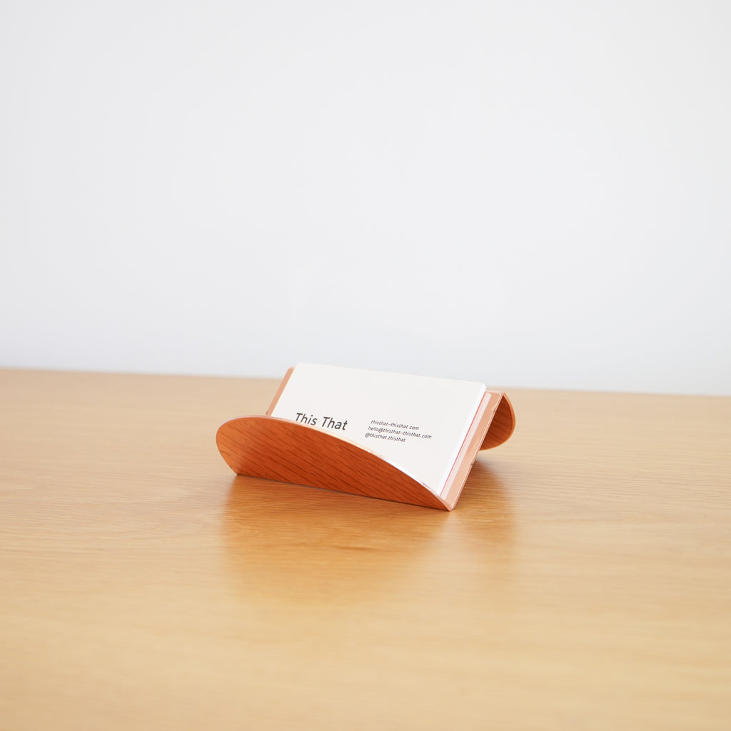 The Wave Business Card Holder in copper by Souda at Commonplace design shop in Milwaukee, WI.