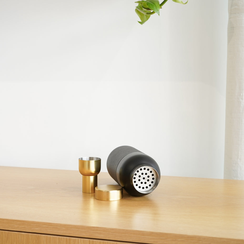 Black and gold accents highlight the design of the Collar Cocktail Shaker from Stelton.