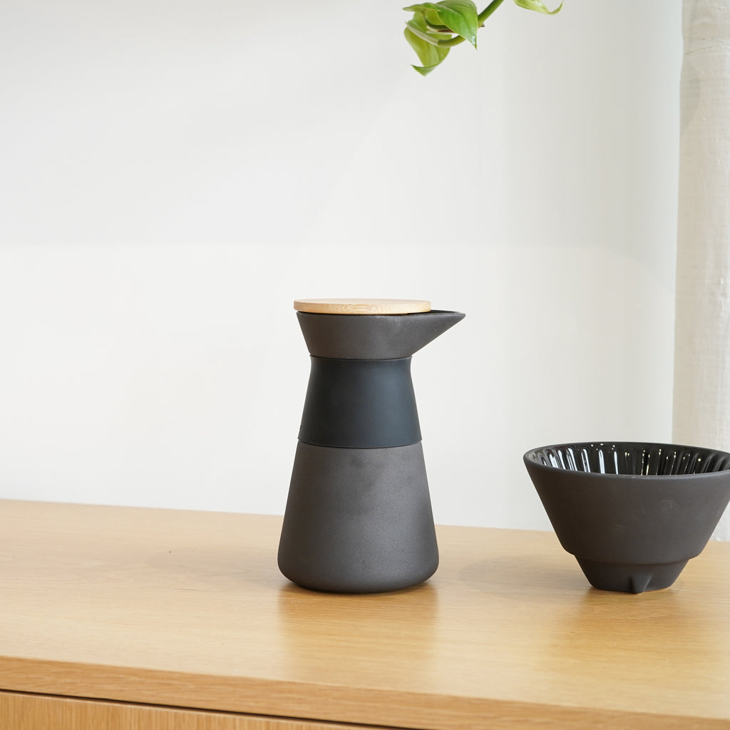 The Theo Coffee Maker is a pour over coffee maker designed by Francis Cayouette for Stelton.