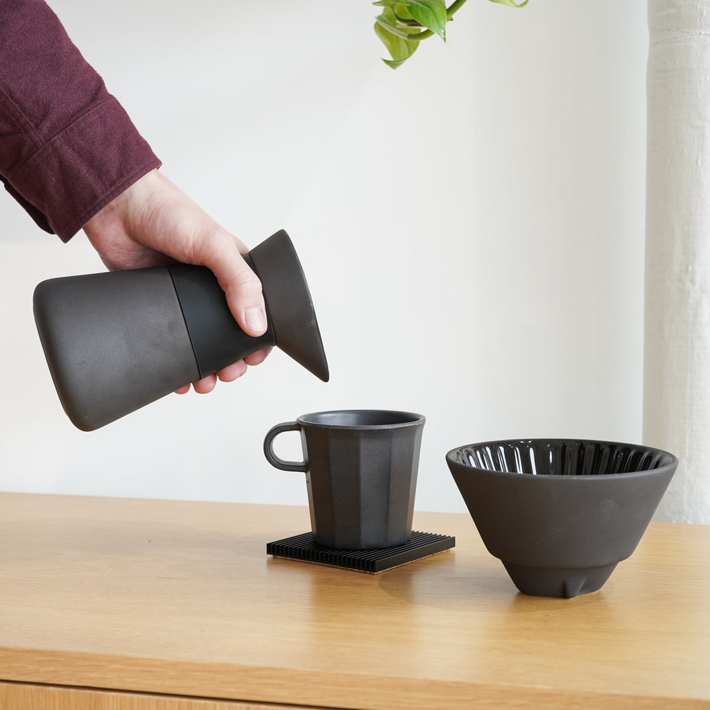 A stoneware pour over coffee maker from Stelton - the Theo Coffee Maker.