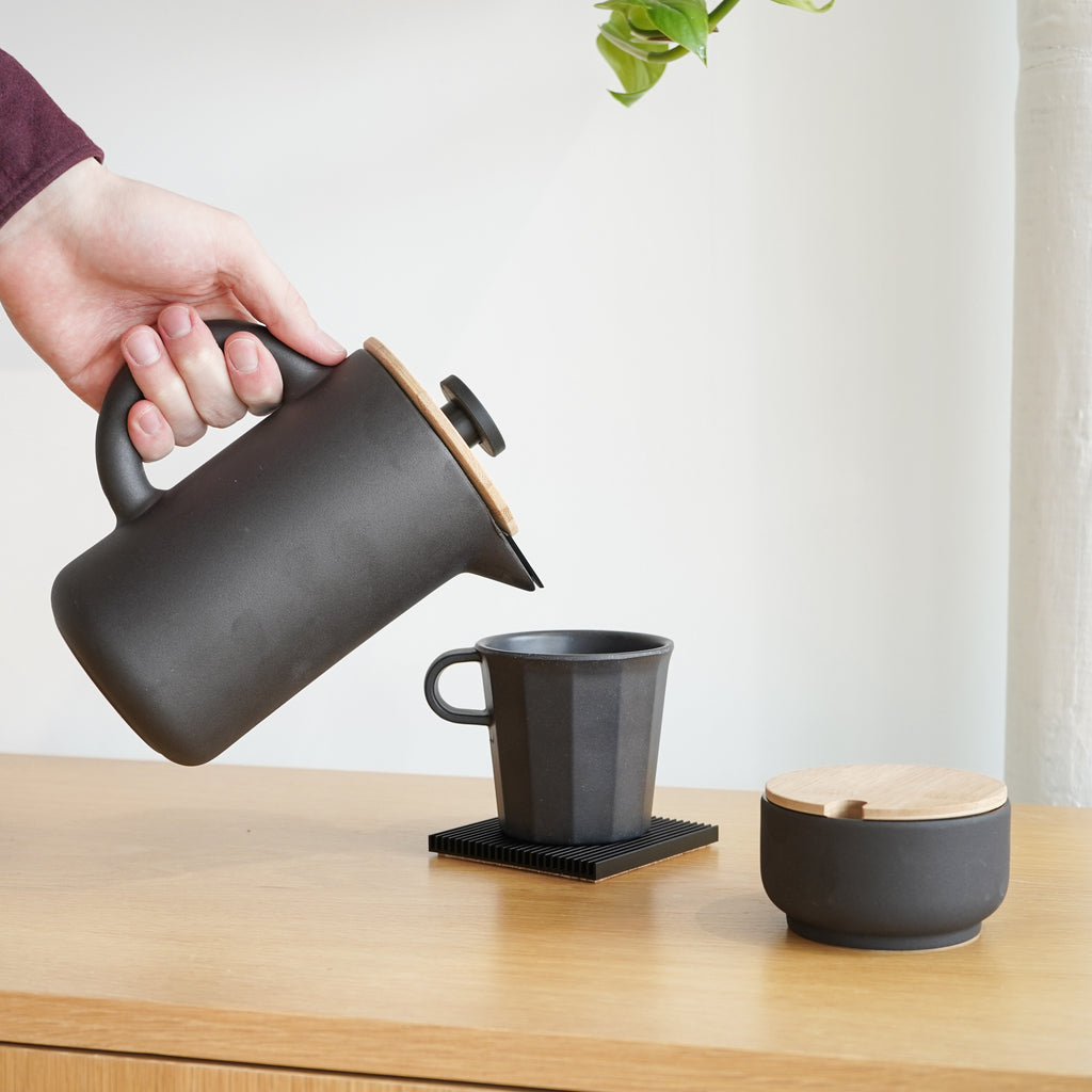 A stoneware French press coffee maker from Stelton - the Theo Coffee Maker.