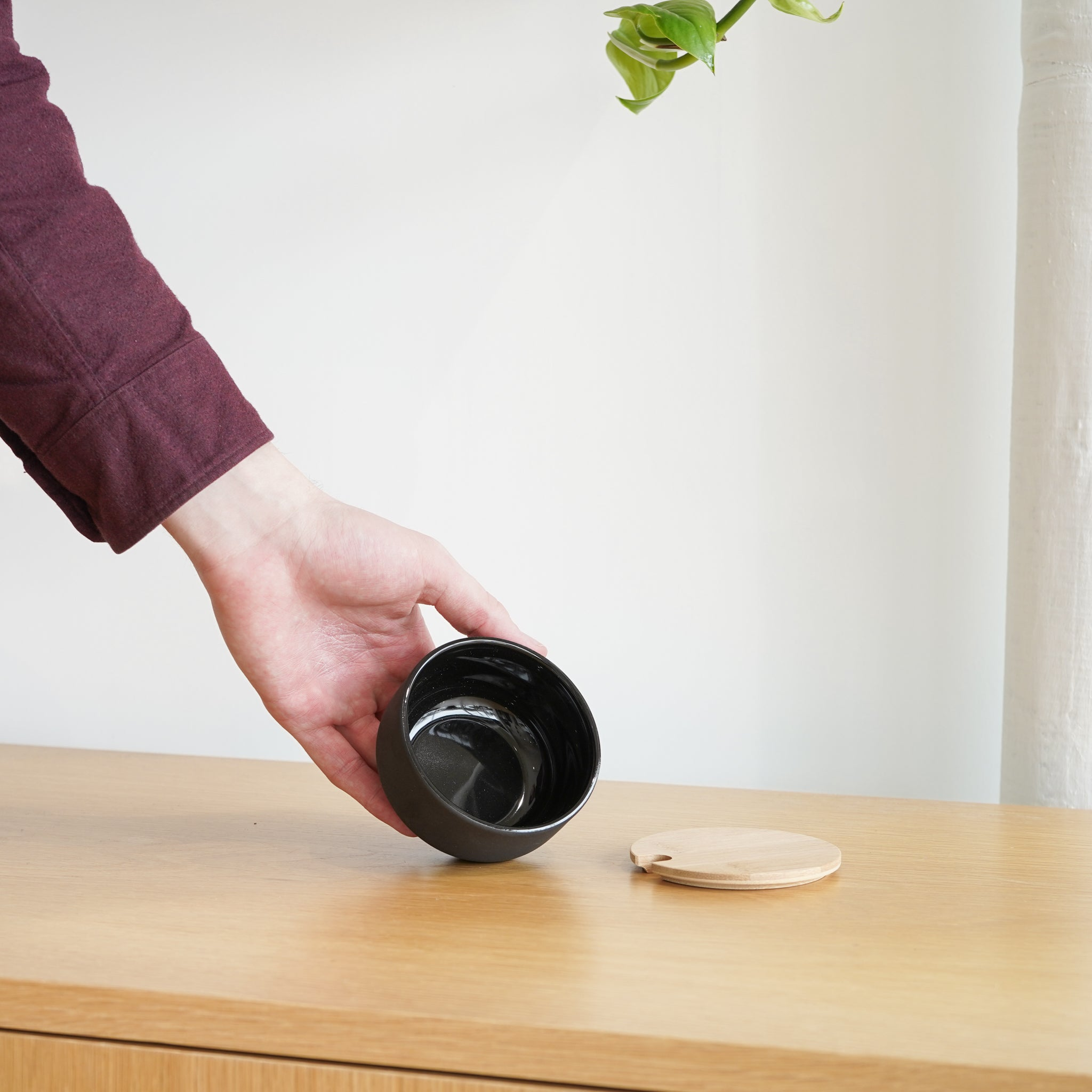 A stoneware sugar dish from Stelton - the Theo Coffee Maker.