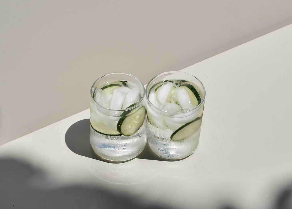 A glassware set for apartment dwellers and space savers, the Tapered Drinking Glasses by This That.