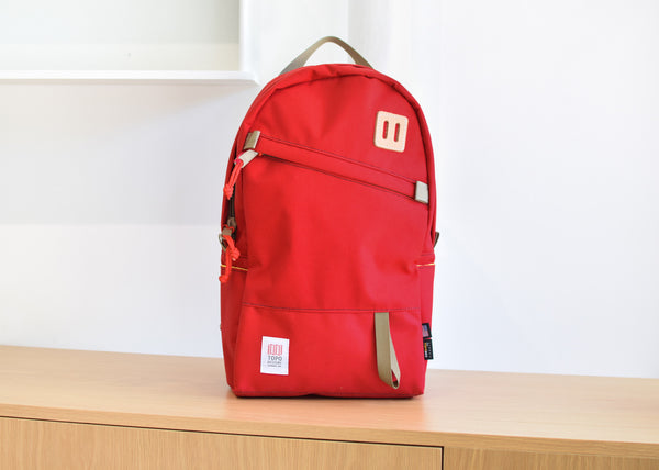 The Topo Designs Daypack in red from Commonplace design shop.