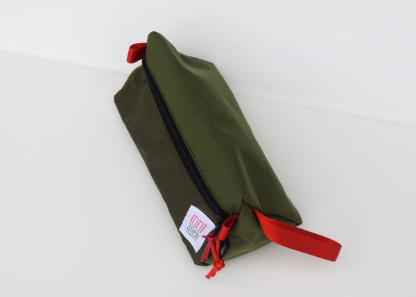 The Topo Designs Dopp Kit in olive from the above.