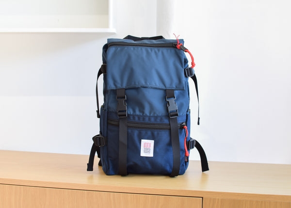 The Topo Designs Rover Pack in navy from Commonplace design shop.