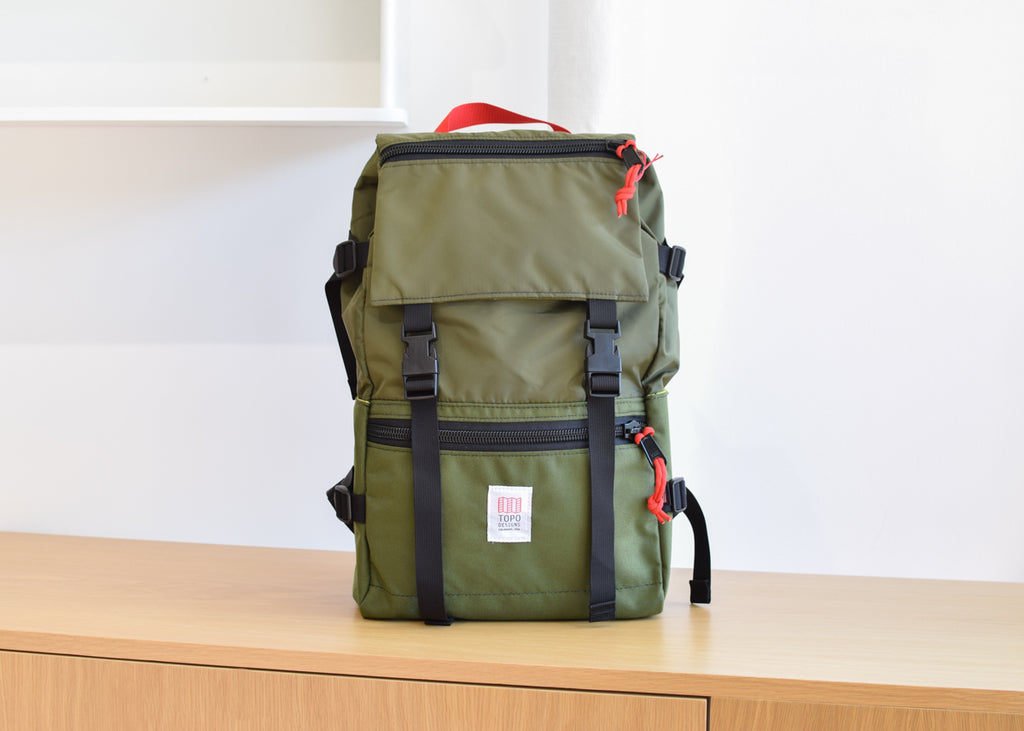 The Topo Designs Rover Pack in olive from Commonplace design shop.