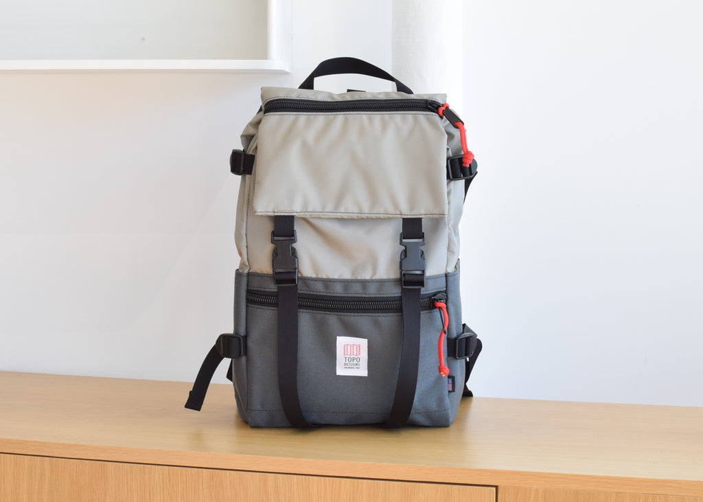 The Topo Designs Rover Pack in Silver/Charcoal.