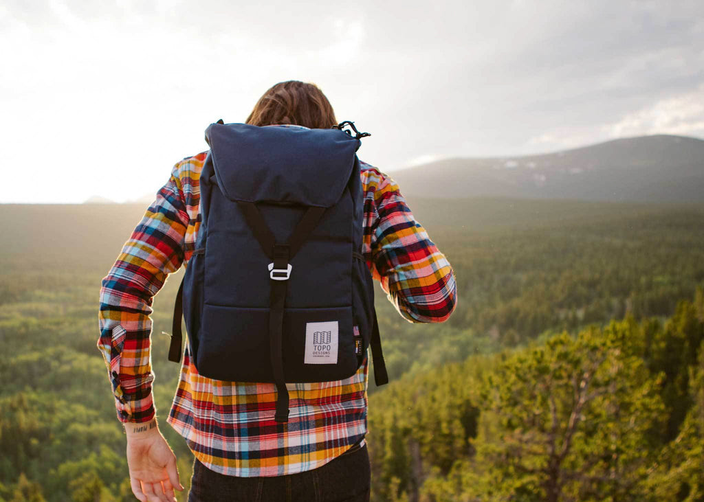 The Y-Pack in navy from Topo Designs is perfect for a day hike and quick trips and travel.