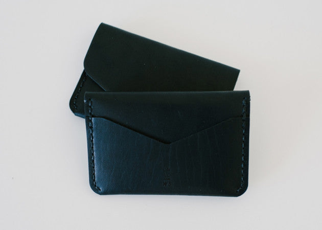 Back view of the Winter Session handmade leather Snap Wallet in black.