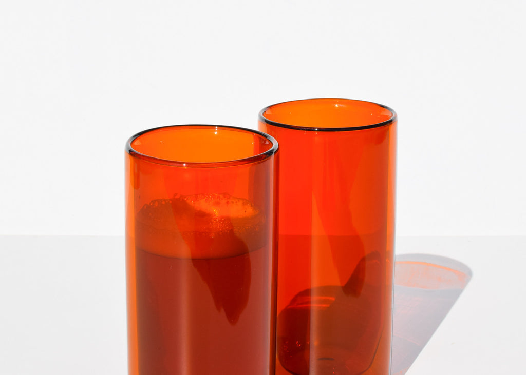 Yield Double-Wall 16oz Glasses in amber with suspended look interior.