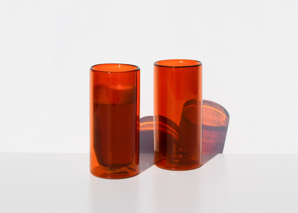 Yield Double-Wall 16oz Glasses in amber made from borosilicate glass.
