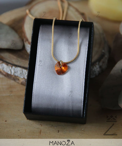 Collier Cœur Orange en Cristal (Plaqué OR)
