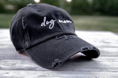Dog Mom Distressed Black Hat