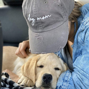 Dog Mom Distressed Grey Hat
