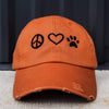 Distressed Vintage Orange Classic Peace Love Paw Hat-1