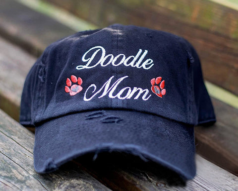 Doddle Mom Paws Distressed Classic Black Hat
