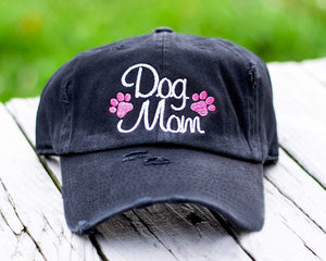 Dog Mom Paws Distressed Classic Black Hat