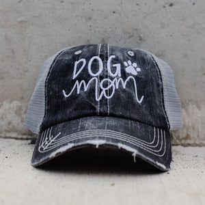 Dog Mom with Paw Gray Mesh Hat