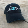 Lover with Paw Distressed Black Hat