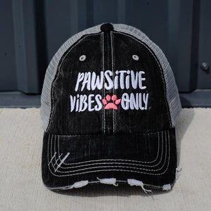 Pawsitive Vibes Only Distressed Mesh Back Hat