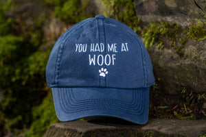 You had me at woof Authentic Washed Light Navy Hat
