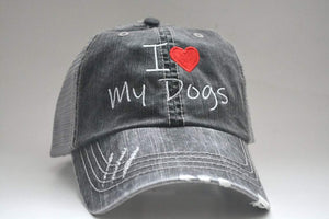 I Heart My Dogs Distressed Mesh Back Hat