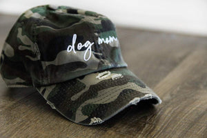 Dog Mom Distressed Camo Hat