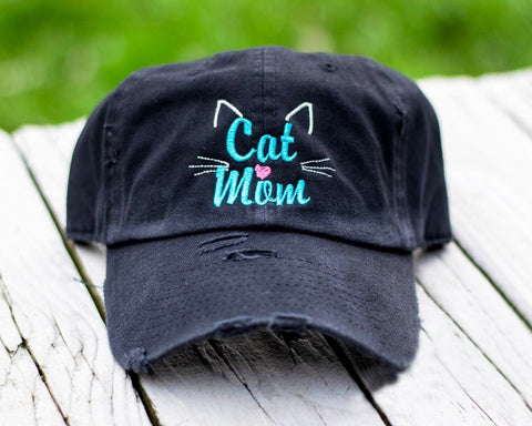 Cat Mom Purple Distressed Classic Hat