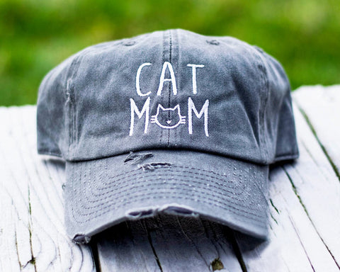 Cat Mom Distressed Classic Hat