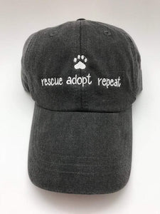 Rescue Adopt Repeat Classic Charcoal Hat with White Embroidery