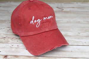 Dog Mom Classic Distressed Maroon Hat