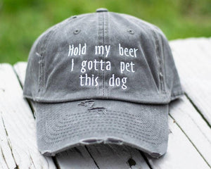 Hold My Beer I Gotta Pet This Dog Distressed Classic Hat