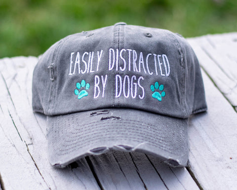 Easily Distracted By Dogs Distressed Classic Hat