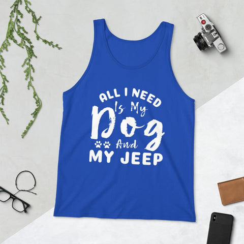 All I Need Is My Dog And My Jeep Unisex Tank Top (TEST)