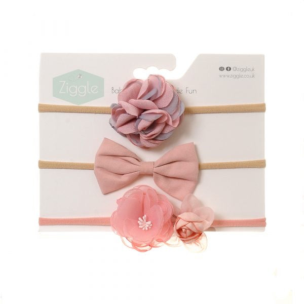 Ziggle pink roses hair bow set