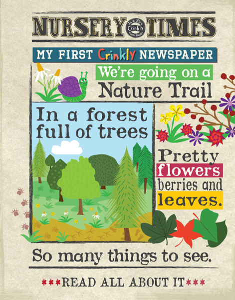 Crinkly newspaper nature trail