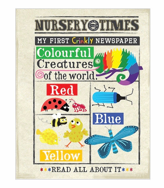 Crinkly newspaper colourful creatures