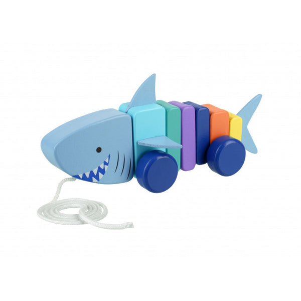 Orange tree toys pull along shark