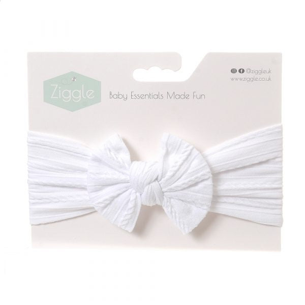 Ziggle white top bow turban headband
