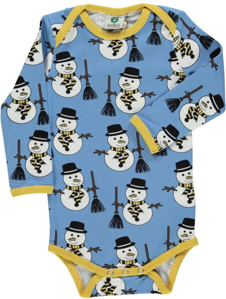 Smafolk long sleeve body suit with snowman