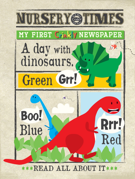 Crinkly newspaper dinosaurs