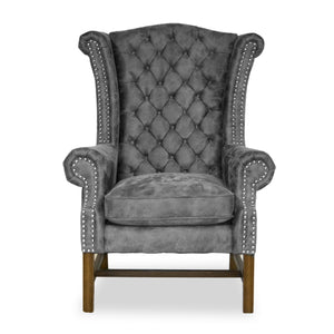 Crown Wingback Chair in Grey