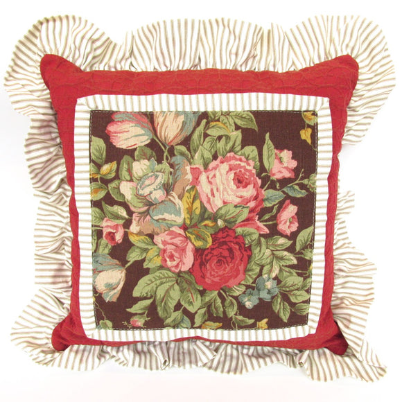 Floral & Striped Pillow