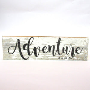 "Reclaimed Tobacco Crate Sign | ""Adventure Awaits"""
